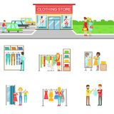 Clothing Store Exterior And People Shopping Set Of Illustrations Royalty Free Stock Photo