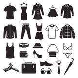 Clothing Store Icons set. Black on a white background Stock Photo