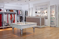 Clothing store interior. Inside of a clothing store Stock Photography