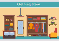 Clothing store. Man and woman clothes shop Stock Photos