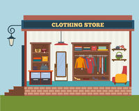 Clothing store. Man and woman clothes shop Stock Image