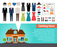Clothing store. Set of clothes and building Royalty Free Stock Photos