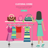 Clothing Store. Set of Women Clothes Items. Royalty Free Stock Photo