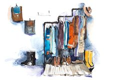 Clothing store shelving and display of clothes. stock images