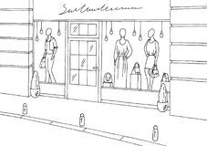 Clothing store shop exterior graphic black white boutique sketch illustration vector. Clothing store shop exterior graphic black white boutique sketch