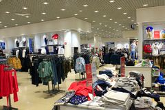Clothing store with a wide assortment royalty free stock photo