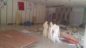 The clothing store will be upgraded and decorated, and the plastic models will be discarded. stock video footage