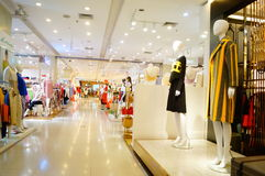 Clothing stores. In Shenzhen Xixiang, China Royalty Free Stock Photos