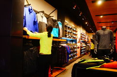 Clothing stores. In Shenzhen Xixiang, China Royalty Free Stock Images
