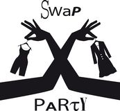 Clothing swap party. Swap party sign with female hands exchanging clothing items, EPS 8 vector silhouette stock illustration