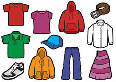 Clothing symbol set with bold outlines Stock Photos