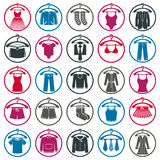 Clothing symbols, isolated vector clothing. Royalty Free Stock Images