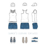 Clothing templates set. Stock Photos