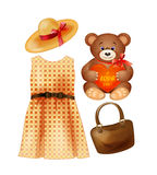Clothing, toy and accessories for the fashion girls stock images