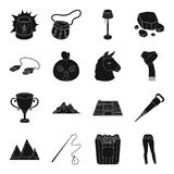 Clothing, travel, landmark and other web icon in black style.  Royalty Free Stock Image