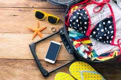Clothing traveler`s , wallet, smart phone devices, on a wooden f Royalty Free Stock Photography
