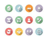 Clothing and trip icon set color Royalty Free Stock Images