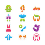 Clothing and trip icon set Royalty Free Stock Images