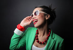 Clothing. Woman with modern style of clothing Royalty Free Stock Photos