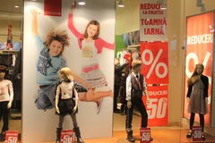 Clothing for young people. In supermarket Bucharest,Romania Royalty Free Stock Photo