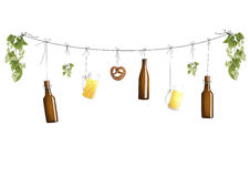 Clothline with beer bottles Stock Photo