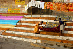 CLOTHS AT BENARAS GHAT Royalty Free Stock Photo