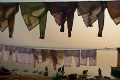 CLOTHS AT BENARAS GHAT Royalty Free Stock Photography