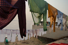 CLOTHS AT BENARAS GHAT Stock Photo