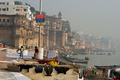 CLOTHS AT BENARAS GHAT Stock Photography