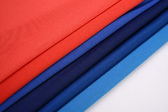 Cloths with different color made by cotton fiber Royalty Free Stock Photos