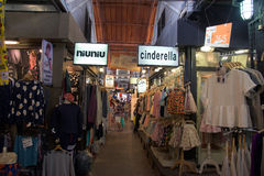 Cloths stores at Chatuchak Market in Bangkok Stock Photo