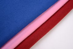 Cloths with three different colors made by cotton fiber Royalty Free Stock Photo