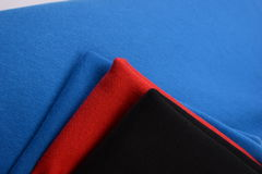 Cloths with three different colors made by cotton fiber Royalty Free Stock Photos