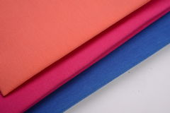 Cloths with three different colors made by cotton fiber Stock Photography