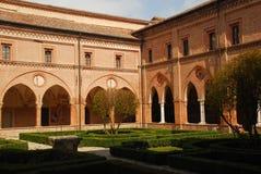 Cloître médiéval, abbaye de Polirone, Italie Image libre de droits