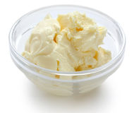 Clotted cream in a glass bowl Royalty Free Stock Images