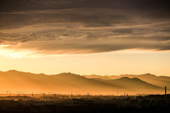 Cloud;china;Dusk;Construction site;Backlight;Crane;Toyama; Royalty Free Stock Photography