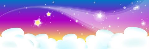 Cloud. In the purple sky with stars Stock Photos