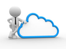Cloud. 3d people - man, person standing near to a cloud Royalty Free Stock Photos