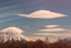 Cloud above volcano at calm autumn day Royalty Free Stock Image
