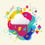 Cloud on abstract colorful spotted background with different ele Stock Photos