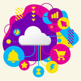 Cloud on abstract colorful spotted background with different ico Royalty Free Stock Photos