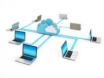 Cloud Abstract Communication, Laptop Connection Isolated on White Background Stock Image