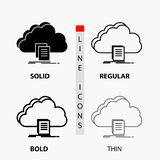 Cloud, access, document, file, download Icon in Thin, Regular, Bold Line and Glyph Style. Vector illustration. Vector EPS10 Abstract Template background vector illustration