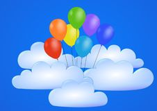 Balloons Fly into Blue Sky through the Clouds. Cloud and air Balloon into blue sky background illustration vector. Balloon fly into space blue sky image for royalty free illustration
