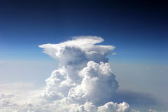 Cloud from airplane. Cumulonimbus observed on a plane over pacific ocean Stock Image