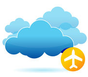 Cloud and airplane illustration design Royalty Free Stock Photos