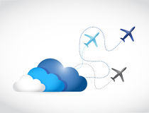 Cloud and airplane routes illustration design Stock Photography