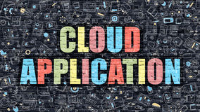 Cloud Application Concept. Multicolor on Dark Brickwall. Royalty Free Stock Images