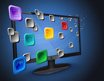 Cloud apps on Internet TV / computer Royalty Free Stock Photo